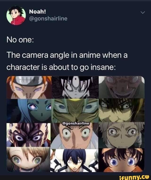 The Camera Angle In Anime When A Character Is About To Go Insane Ifunny Anime Memes Funny Memes Camera Angle