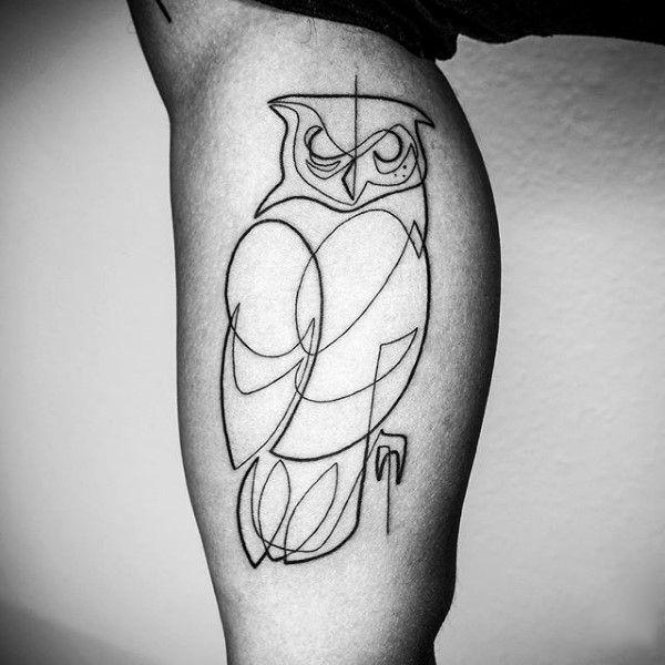 Owl line art tattoo