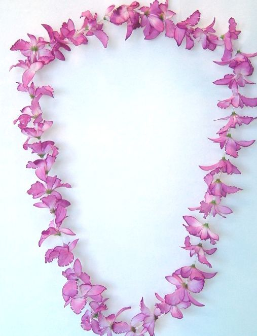 S/O Pack of 30 Flower Garlands Pink Plain Coloured Flower Petals Hawaiian Lei Hawaiian Flower Chain Necklaces Decoration