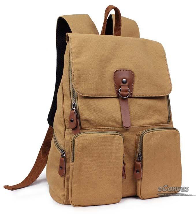 14 Laptop Backpack Khaki Black Students Bag Yellow Book