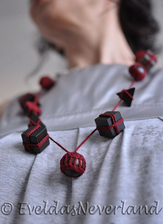 This unique necklace is made entirely from eco-friendly 100% natural materials: high quality mercerized cotton thread and natural wooden elements - dimensional figures (cub... #lariat #neckpiece #neckwear #burgundy #oxblood
