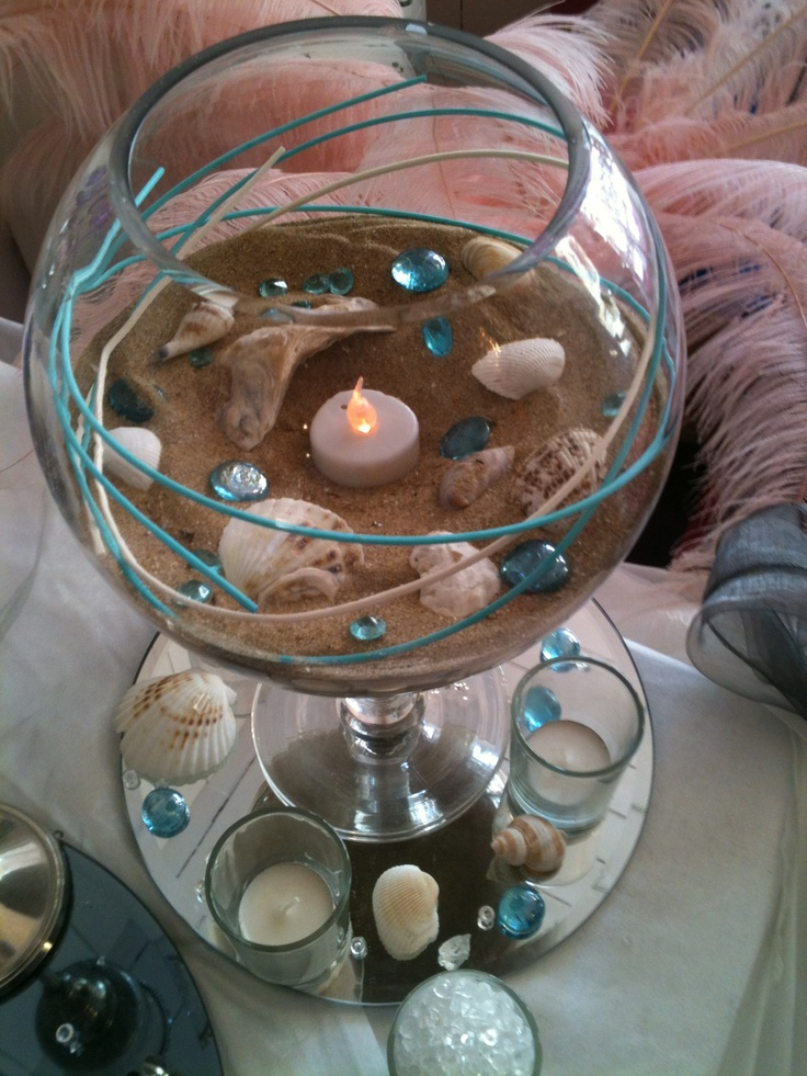 89 best wedding centrepieces images on pinterest wedding center large brandy vase in turquoise seaside theme junglespirit Image collections