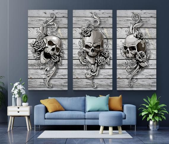 Set Of 3 Skull Prints Skull Set Home Decor Skull Poster Set Etsy Skull Wall Art Canvas Art Wall Decor Wall Art Canvas Prints