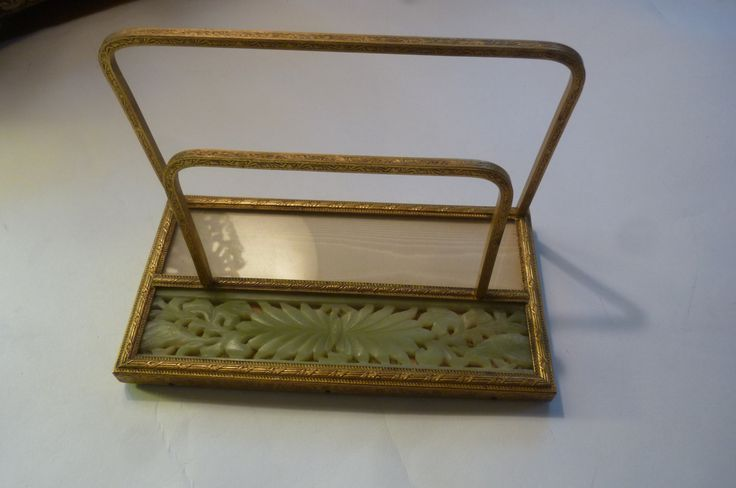 Vintage Letter Holder Asian Carved Jade With Moire and Ormolu Brass Desk Storage Paper Keeper Vintage Home Office Bill Caddy 1950's by ZoomVintage on Etsy