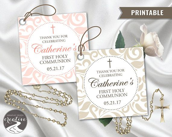 PRINTABLE Personalized Thank You First Communion Label Tag
