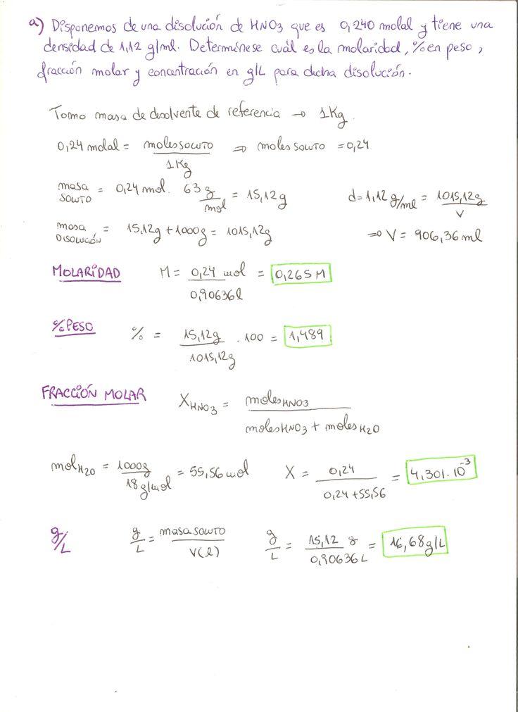 Ejercicio resuelto de disoluciones químicas, molaridad, porcentaje en peso, fracción molar y g/L