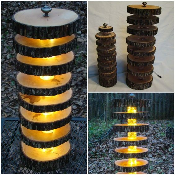 Cute Handmade Tree Log Floor Lamp #DIY #Farmhouse #Handmade #LED #outdoor #Recycled #Tree #Tutorial #Wood Bring some natural beauty into your home coupled with modern technology. A warm, round accent lamp made of hand cut wood slices and dimmable LED light...