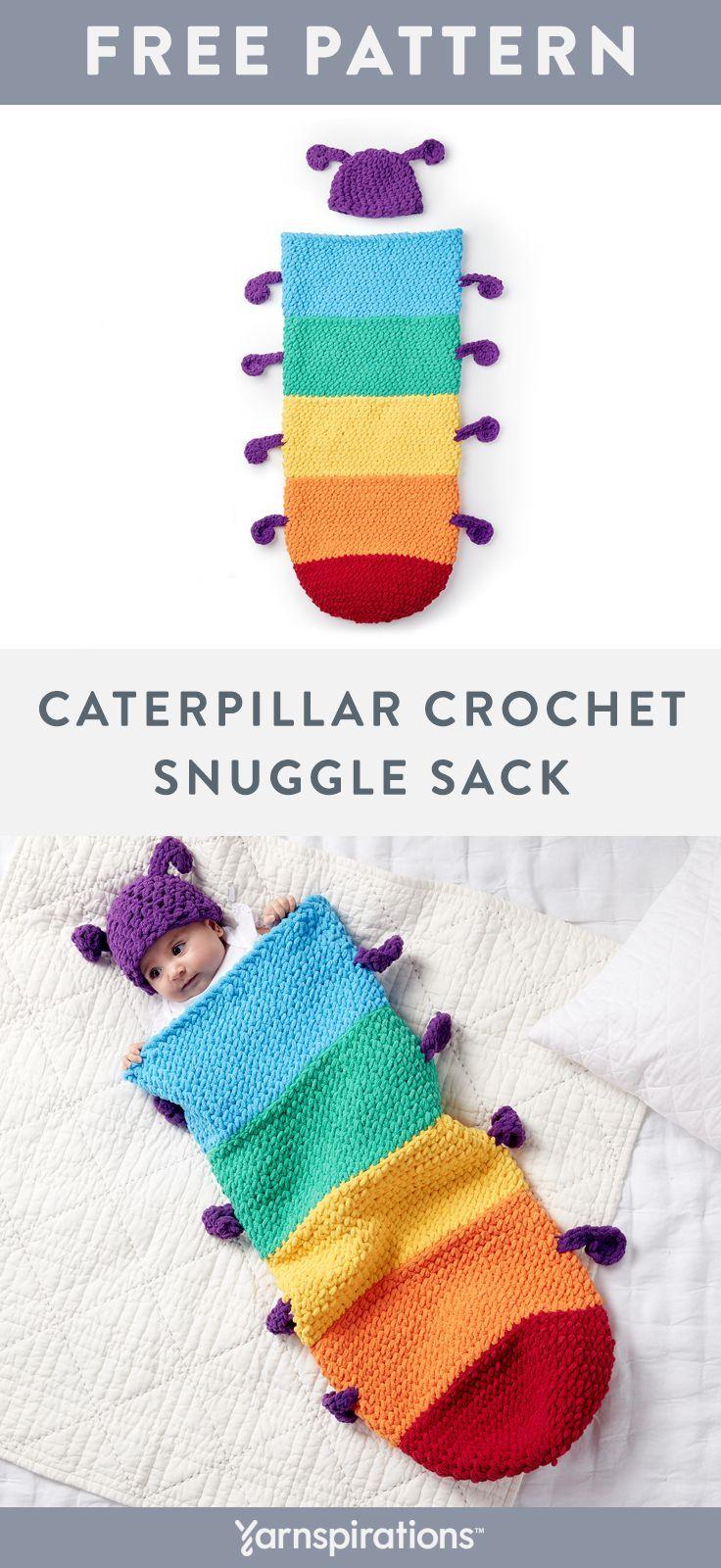 Caterpillar crochet Snuggle Sack | Free Crochet Sn…