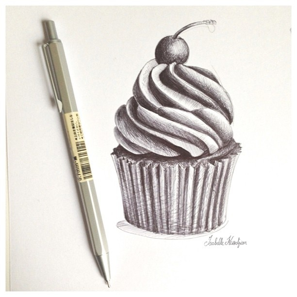 how to draw a realistic cupcake