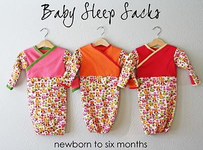 Baby sleep sack tutorial    @Jessica Pool I am so excited! This is the same Owl fabric I bought for all the girls!