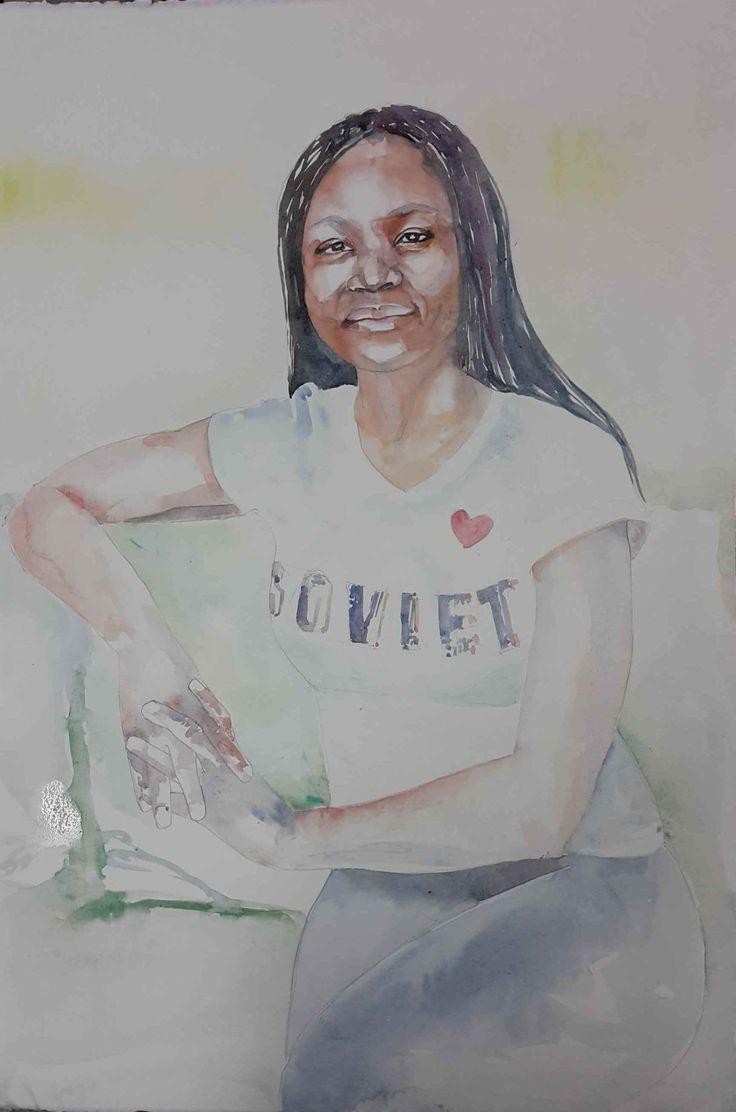 Studio version of Emma #Watercolour on 300gm Arches Hot Pressed - 560x380mm #portrait #watercolor