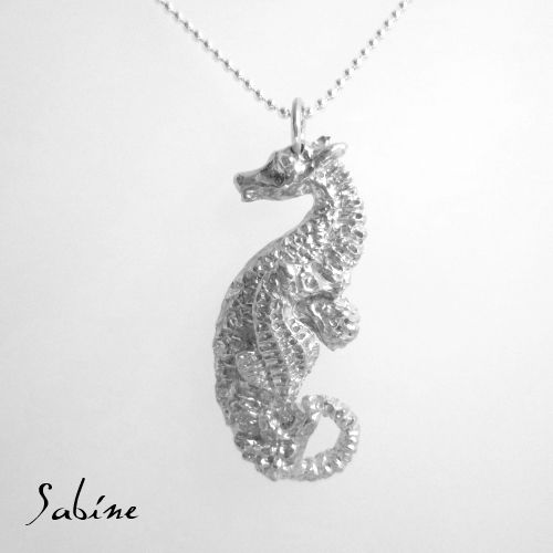 Daddy and baby Seahorse pendant.  Sterling silver and approx 6cm long from head to tail.  www.facebook.com/sabinejewellery