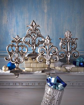 Antiqued-Silver Baroque Stocking Hooks at Horchow. #HorchowHoliday14