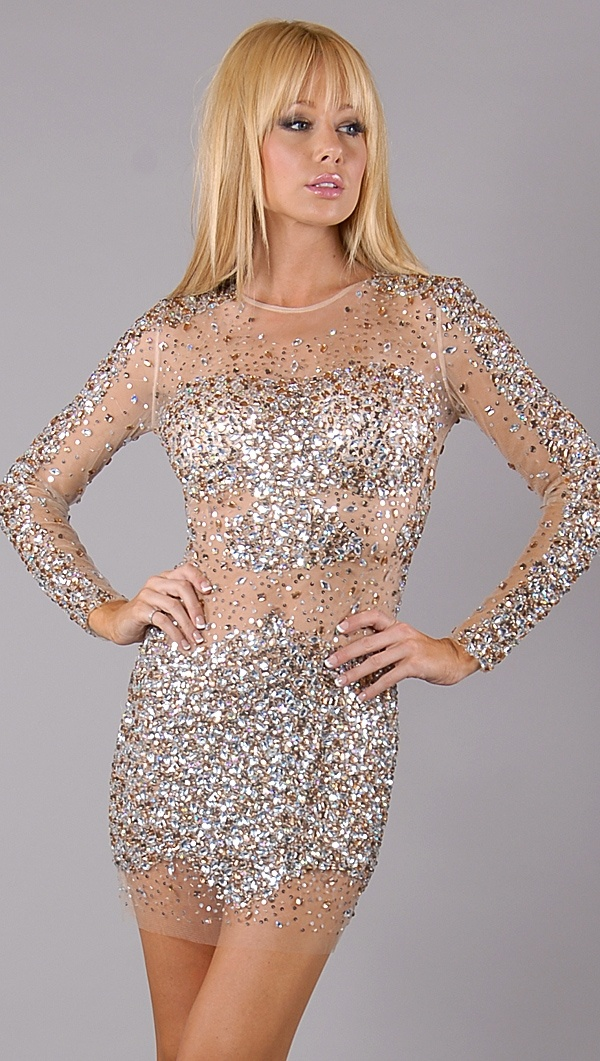 Jovani Nude Beaded Crystal Dress Everyday Clothes
