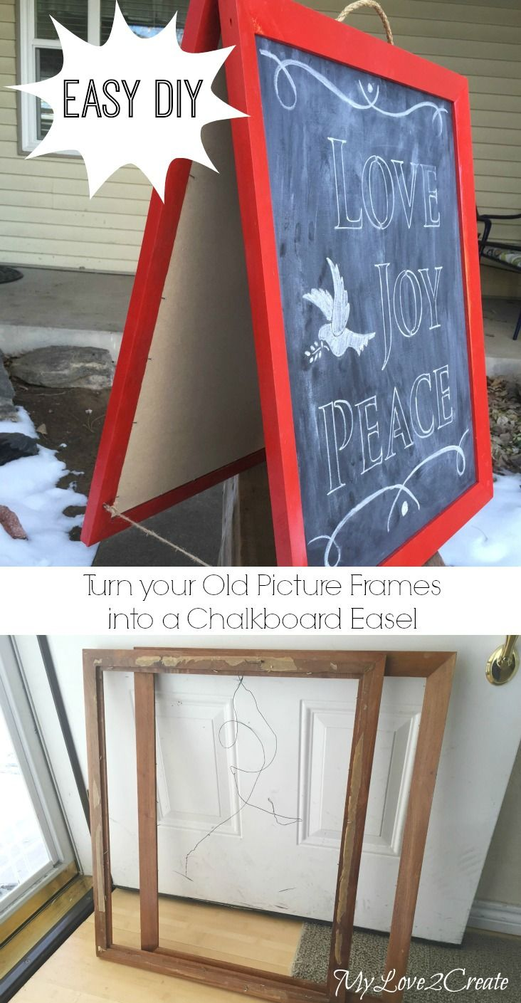 Easy repurposed picture frame chalkboard easel.  This is great for the kids,  teachers and more.   I am sooo doing this for my craft booth.