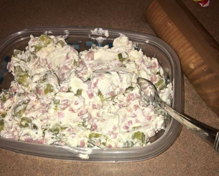 Pickle Roll Dip: 16 oz cream cheese  16 oz baby dill pickles (drained and chopped) 9 oz cubed ham  Serve with crackers.