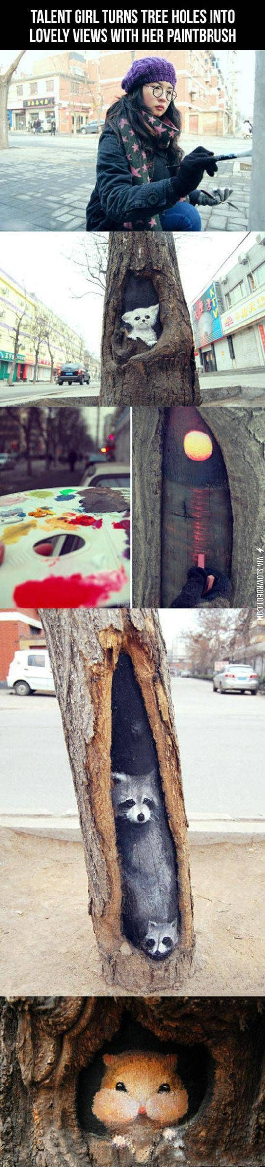 Clever Art Inside Tree Holes