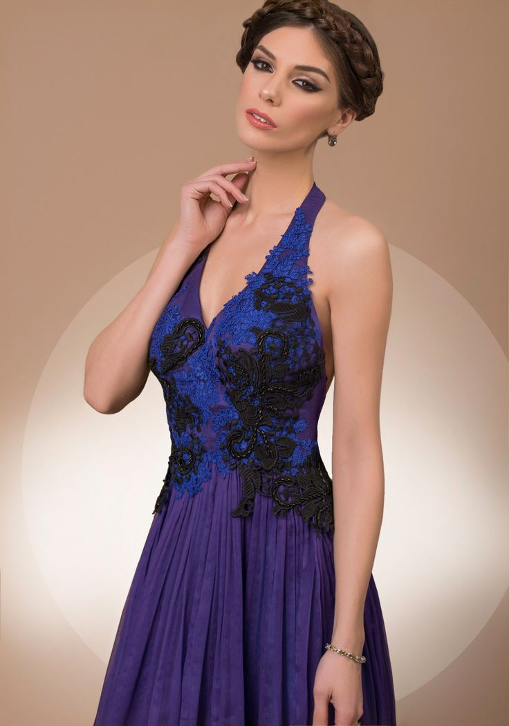 My Secret Courage, halterneck purple and blue luxury evening dress, 2016 My Secret by Bien Savvy