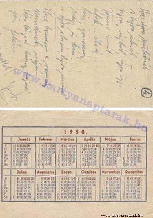 1950 - 1950_0013 - Régi magyar kártyanaptárak