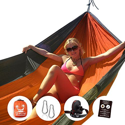 """7th Heaven Hammock"", Premium Parachute Silk Camping Portable HAMMOCK SET, Free Straps, Doublenest 400lbs Strong, Lightweight, Fast and Easy Setup, Includes Straps for Hanging, Includes Carabiners, Indoor and Outdoor Use, Portable Bed – Shop Camping"