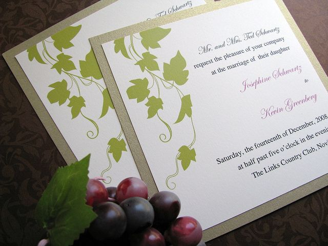 Winery Wedding Invitations | Ivy, Grapevine, Grape, Vineyard, Wedding Invitation, Kraft and Green ...