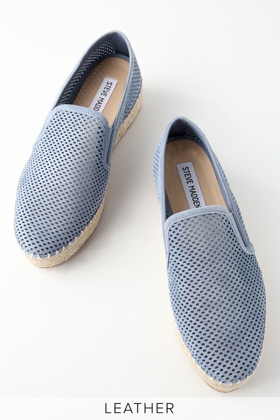6b6d051d42b Hit the street fair in style with the Steve Madden Wright Blue Leather  Perforated Slip-On Espadrille Sneakers! Cute perforated genuine leather  shapes a ...