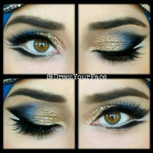 Blue and Gold Eye Makeup Look