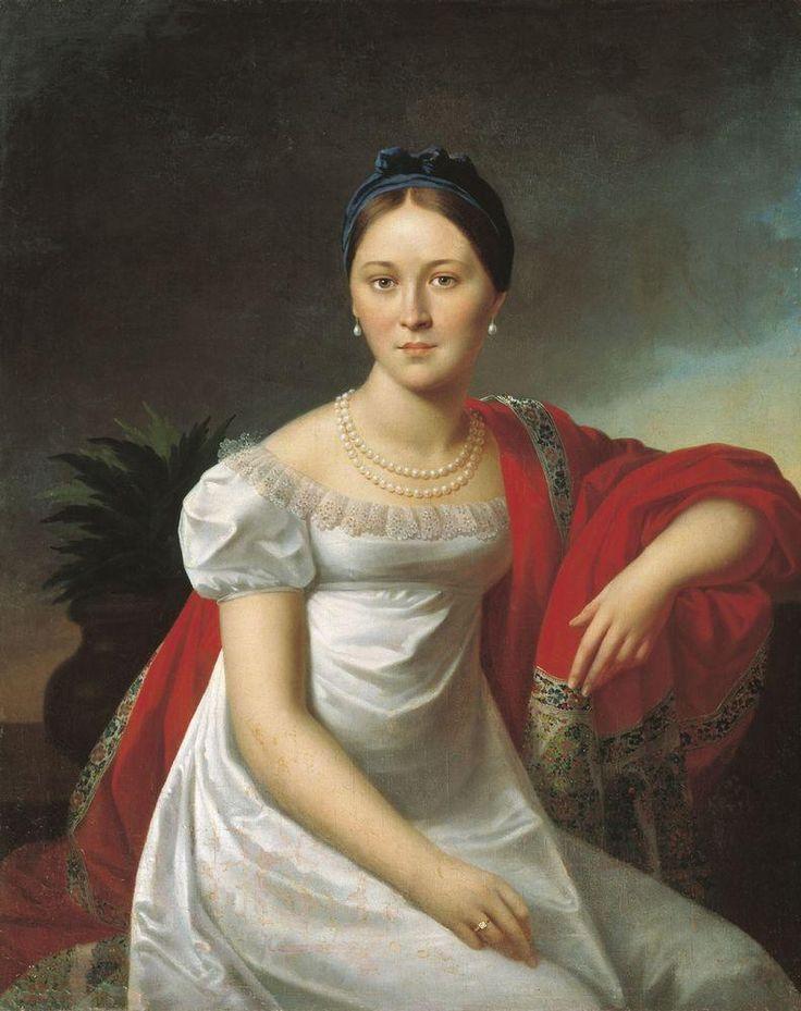 """Oleszkiewicz, Józef (1777-1830) """"Portrait of a young Lady"""" Minsk, Museum."""