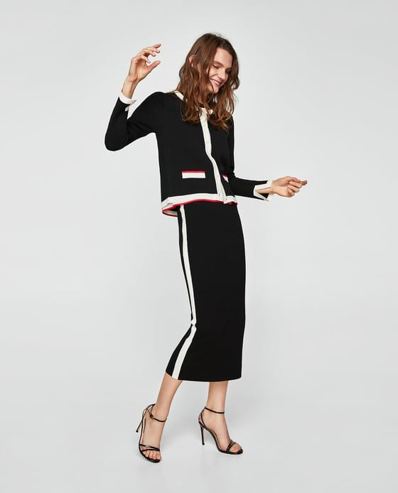 c606652f4a Image 1 of PENCIL SKIRT WITH SIDE STRIPE DETAIL from Zara