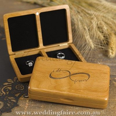 Infinity Wooden Ring Box - The Wedding Faire  alder wood ring box with black felt lining and etched infinity design.  two compartments - one for his ring and one for hers.  a solid and gorgeous romantic infity ring box to keep forever.  measuring - 17cm long x 11cm wide x 3.8cm high.
