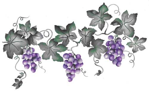 Small Grape Vine Wall Stencil Border