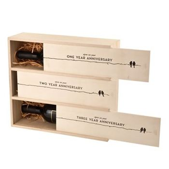 3 Year Anniversary Wine Crate - what a neat tradition