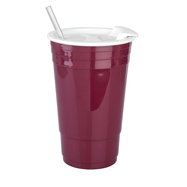 Big Gulp Insulated Cup-Maroon/White - Occasionally Made - Classic Gifts with a Trendy Twist!