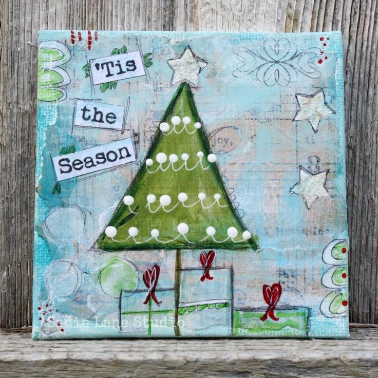 Original Christmas Art, Mixed Media Christmas Art, Christmas Tree, Joy to the World, 4 x 4 Original Mini Canvas Art. $20.00, via Etsy.
