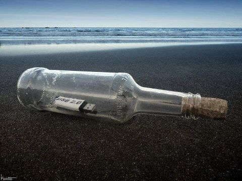 USB in a bottle :D: Funny Things, Funny Pictures, Modern Messages, 21Stcenturi Messages, Funny Quotes, Funny Stuff, Modernday Messages, 21St Century, The Mer