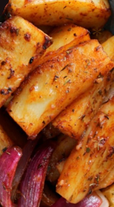 Cajun Style Roasted Potato Wedges with Spicy Lemons & Onions