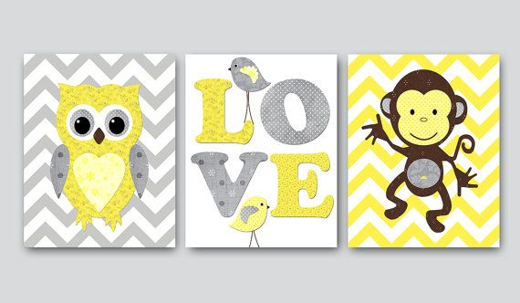 Kids wall art Owl Nursery Monkey Nursery Baby Nursery Decor Baby Girl Nursery Kids Art Baby Room Decor Nursery Print set of 3 8x10 yellow
