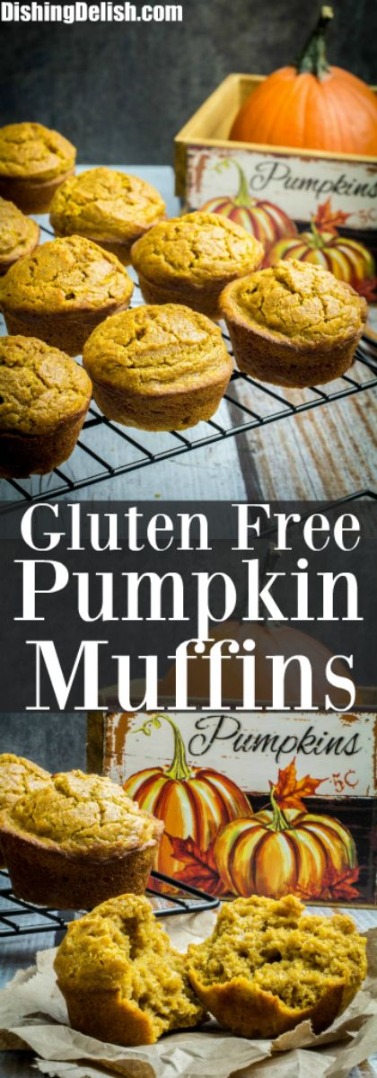 Repin to save recipe! Soft, sweet, and made with just the right amount of pumpkin spice, Gluten Free Pumpkin Muffins are perfect on a chilly fall morning. These gluten free muffins are so easy to prepare and use real pumpkin puree to give them an honestly authentic flavor. Top with cream cheese, butter, or even a drizzle of maple syrup for a treat your whole family will love!