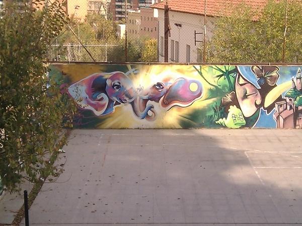Graffiti Elefantes en Parc del Turó de la Peira #Barcelona