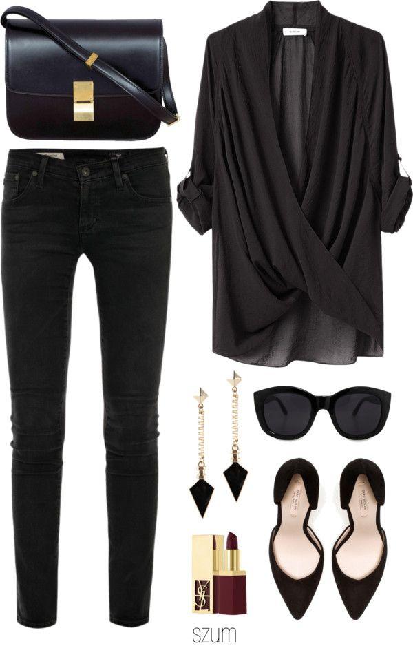 Black skinny jeans, draped top, pumps