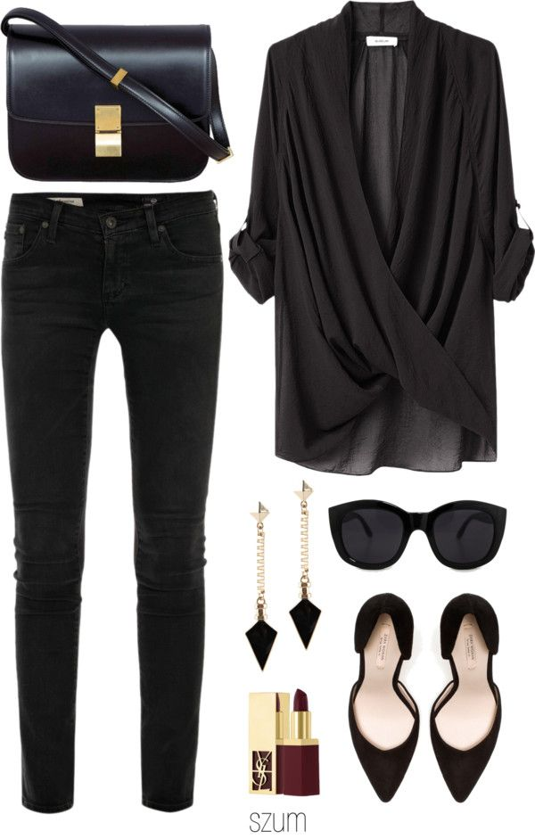 Sexy loose chiffon black top with plunging V. With a pop of red lipstick, this would be unreal. Great for all body types!