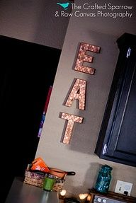 Pennies on letters. Easy copper art.