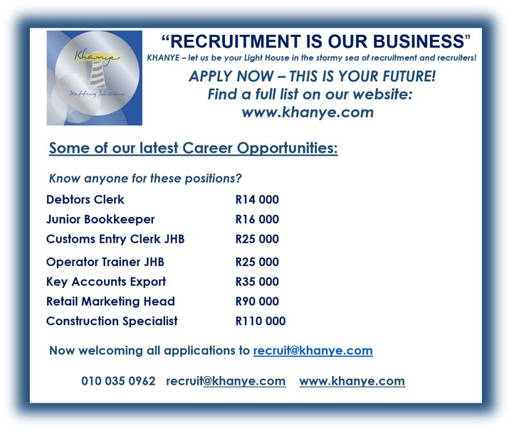 Happy Monday - We're Hiring! 47 NEW Career Opportunities available: Apply online : http://www.khanye.com/career-options.html or email recruit@khanye.com