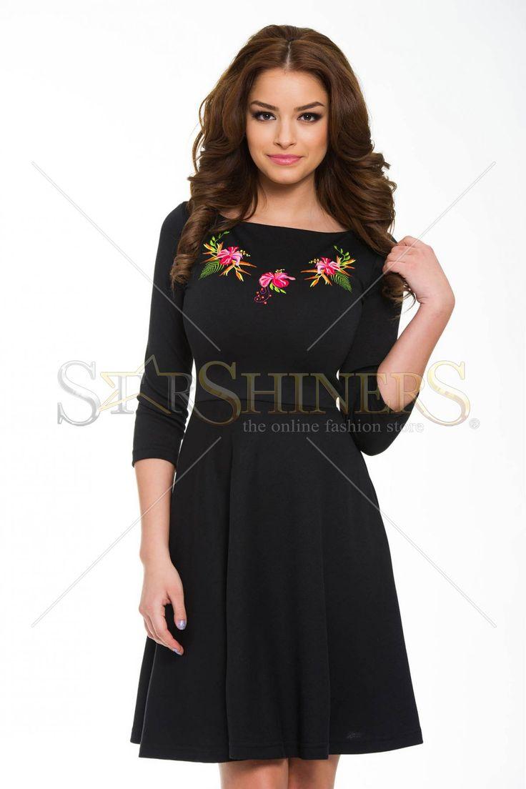 StarShinerS Brodata Sunrise Black Dress