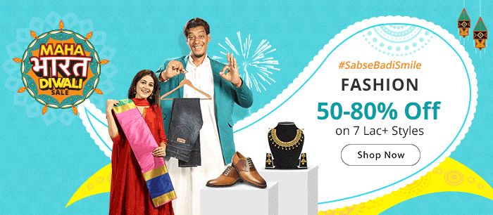50-80% Off on 7 Lac Styles  Fashion Bestsellers   Maha Bharat Diwali Sale  Festive Styles @ Amazing Discounts - Iss Diwali Hogi #SabseBadiSmile  Maha Bharat Sale by Shopclues  Badi Diwali pe Bada Dhamaal Sabse Bade Offers ke Saath  Smartphones    Electronics    Home    Decore    Kitchen    Fashion    Similarly  Shopclues is a fun and exciting way to discover share and shop. A social-commerce platform targeted at the intelligent people of today it has an incredible width of carefully selected…
