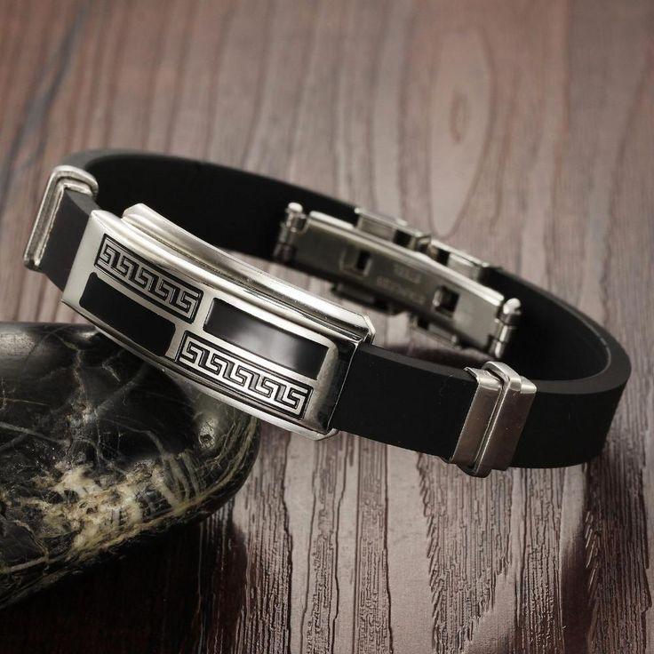 Stainless Steel & Black Silicone Men's Bracelet