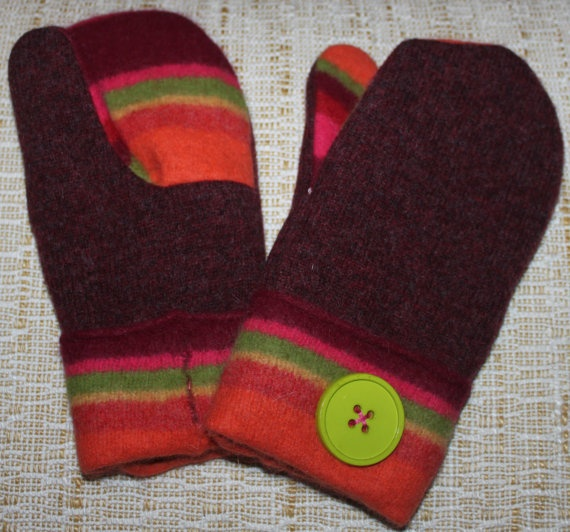 Felted Mittens Made from Upcycled Recycled Wool by littlebugfelt, $29 ...