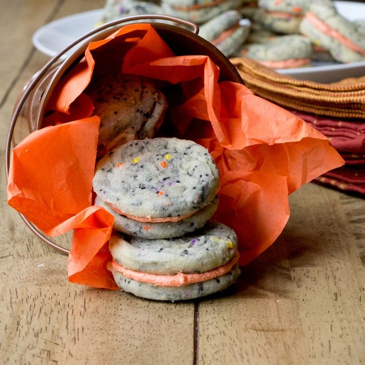 mini Halloween confetti cookies sandwiches from @Lauren Lilling (Keep it Sweet Desserts)