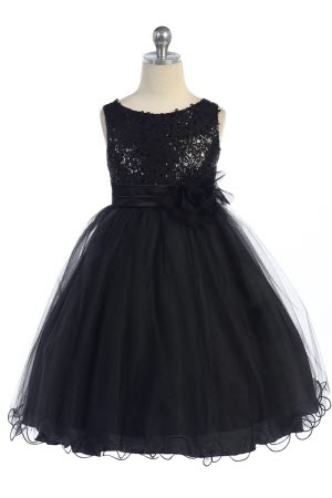 Gorgeous Black Sequined Round Neck Tulle Overlayed Girl Dress K305-BK