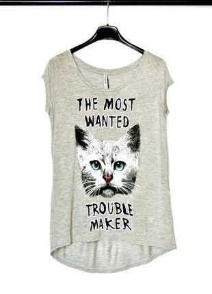 Kup mój przedmiot na #vintedpl http://www.vinted.pl/damska-odziez/koszulki-z-krotkim-rekawem-t-shirty/13518108-t-shirt-szary-kot-stradivarius-s-nowe